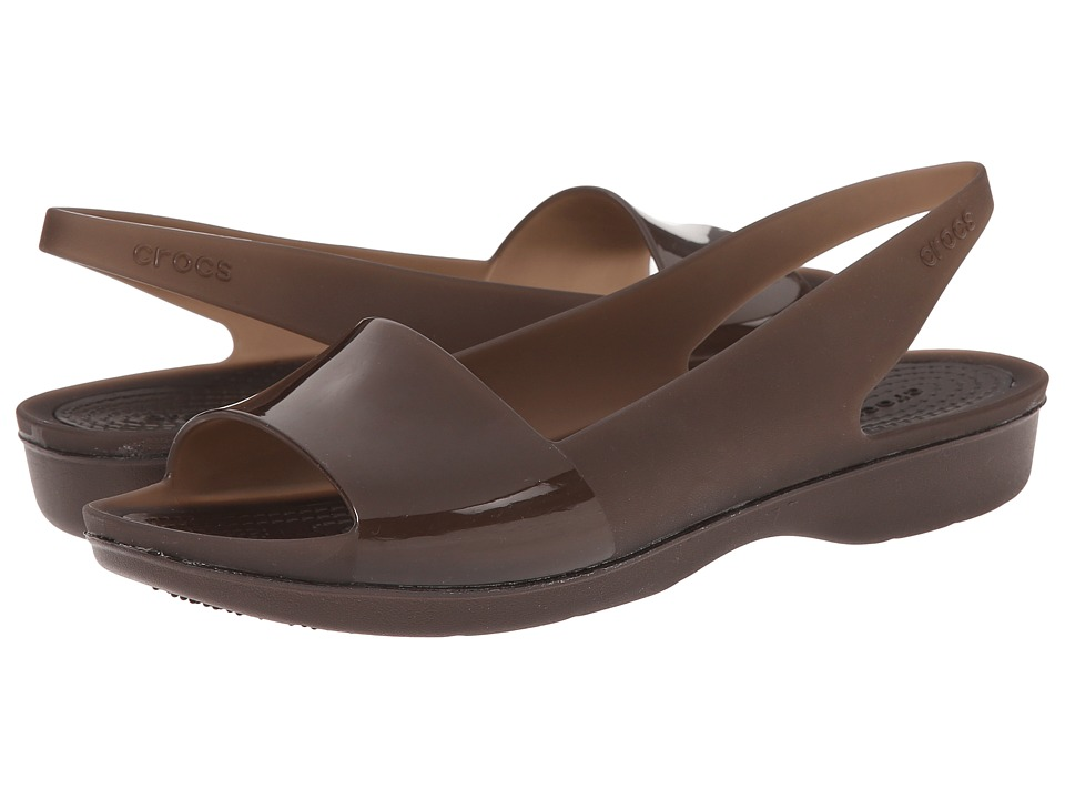 Crocs - Color Block Translucent Slingback Flat (Mahogany/Mahogany) Women's Sling Back Shoes