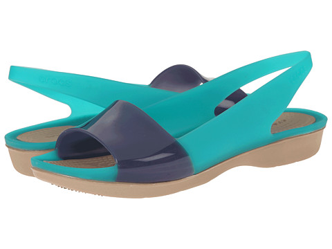 Crocs - Color Block Translucent Slingback Flat (Tropical Teal/Nautical Navy) Women's Sling Back Shoes