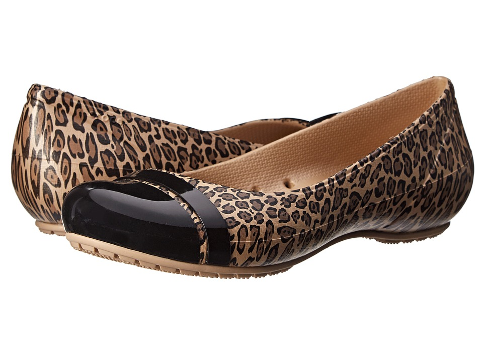 Crocs - Cap Toe Graphic Flat (Black/Gold) Women's Flat Shoes