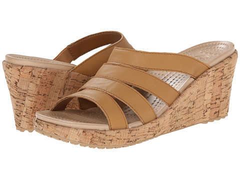 Crocs - A-Leigh Sandal Wedge Leather (Cocoa/Gold) Women