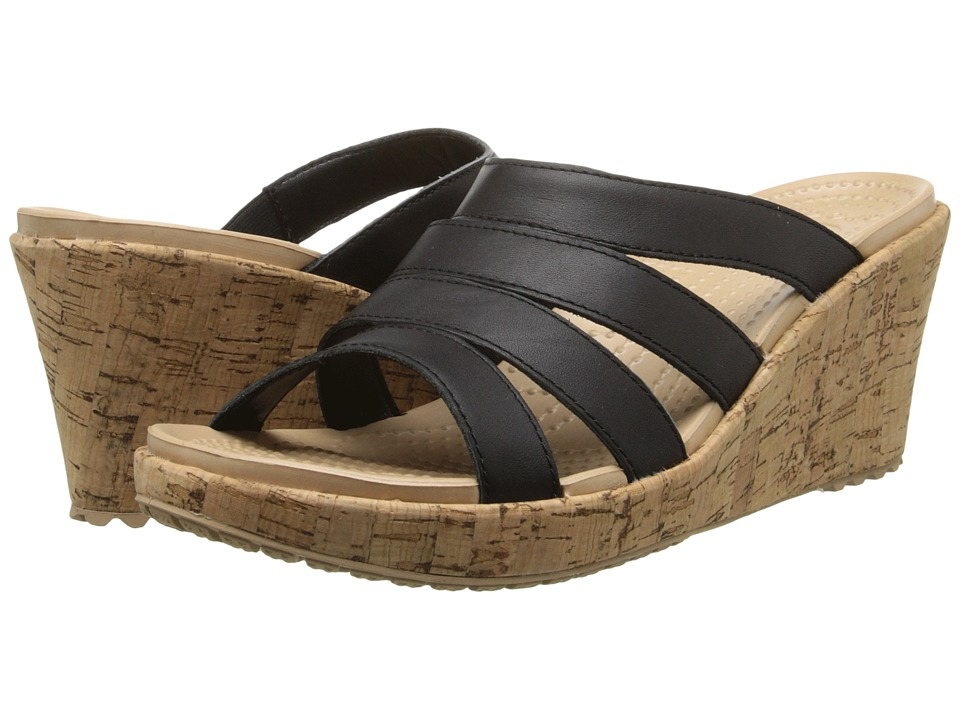 Crocs - A-Leigh Sandal Wedge Leather (Black/Gold) Women's Wedge Shoes