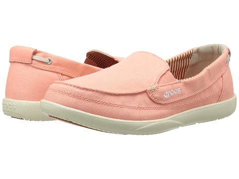 Crocs - Walu Canvas Loafer (Melon/Stucco) Women's Slip on Shoes