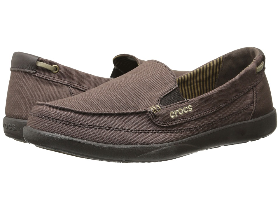 Crocs - Walu Canvas Loafer (Espresso/Espresso) Women's Slip on Shoes