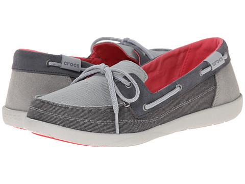 Crocs - Walu Boat Shoe (Light Grey/Graphite) Women's Slip on Shoes