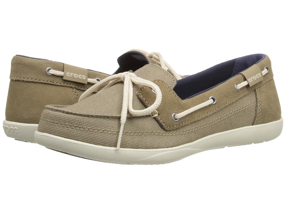 Crocs - Walu Boat Shoe (Khaki/Stucco) Women