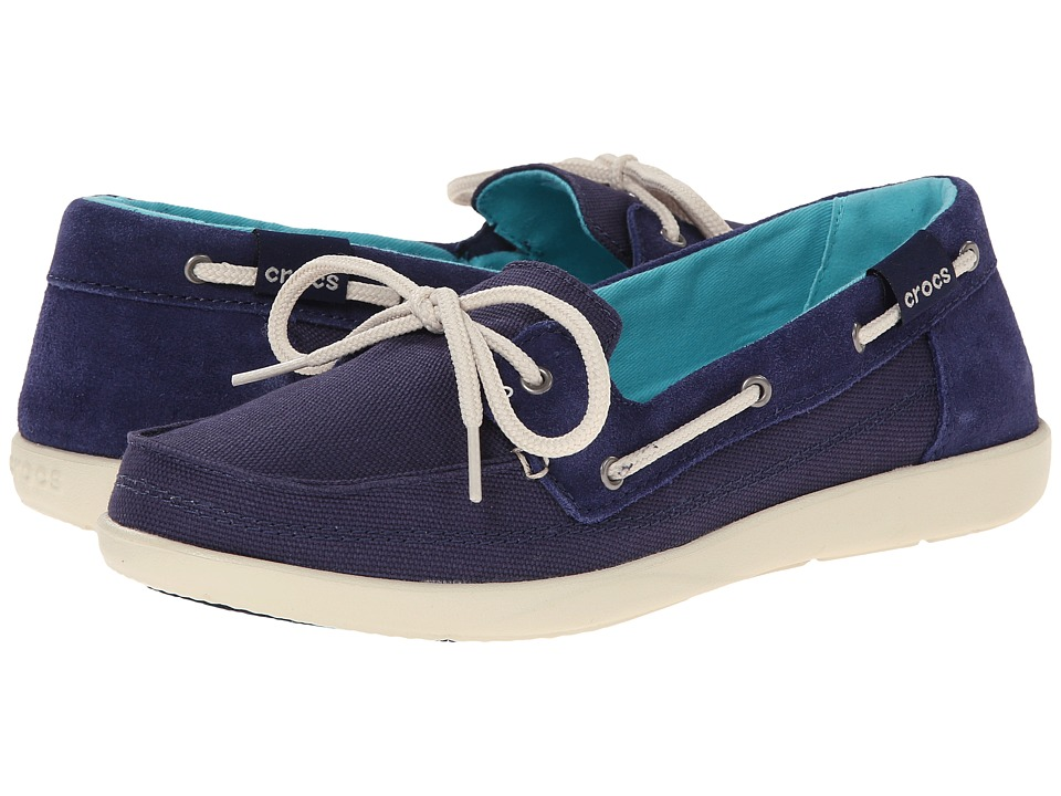 Crocs - Walu Boat Shoe (Nautical Navy/Stucco) Women's Slip on Shoes