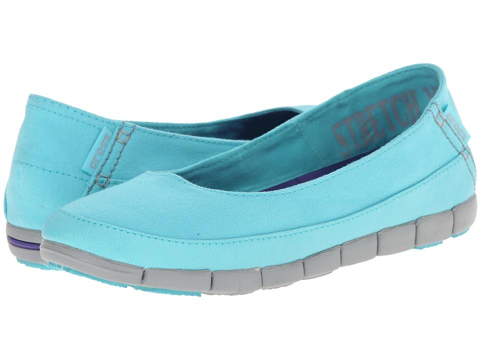 Crocs - Stretch Sole Flat (Pool/Light Grey) Women's Flat Shoes