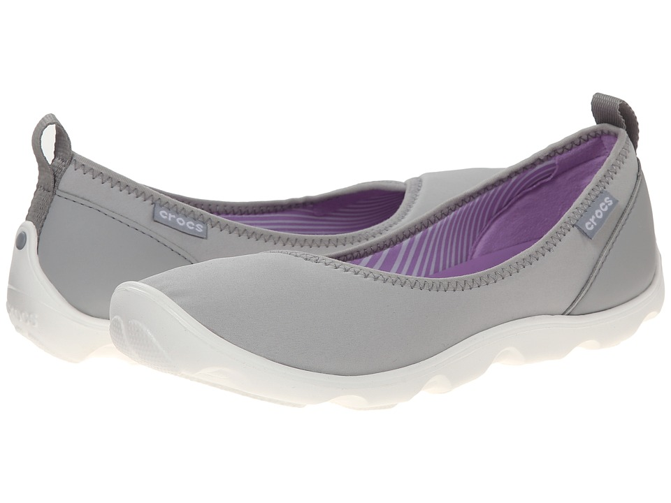 Crocs - Duet Busy Day Flat (Light Grey/White) Women's Slip on Shoes