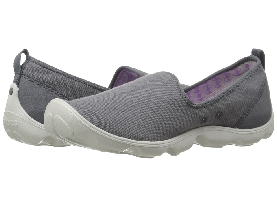 Crocs - Duet Busy Day Skimmer Canvas (Charcoal/Pearl White) Women's Slip on Shoes