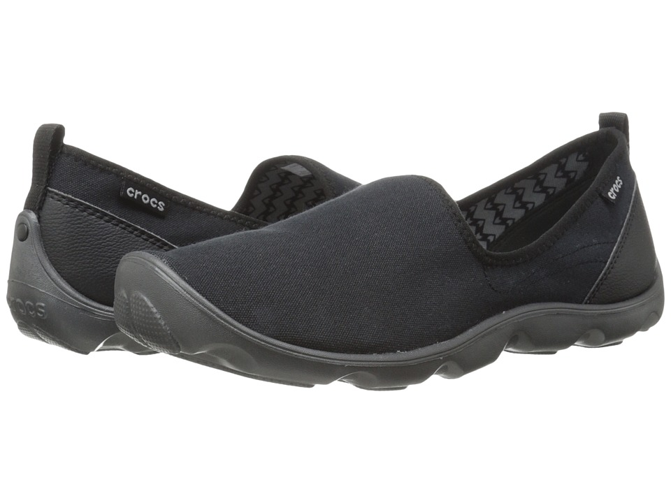 Crocs - Duet Busy Day Skimmer Canvas (Black/Graphite) Women's Slip on Shoes