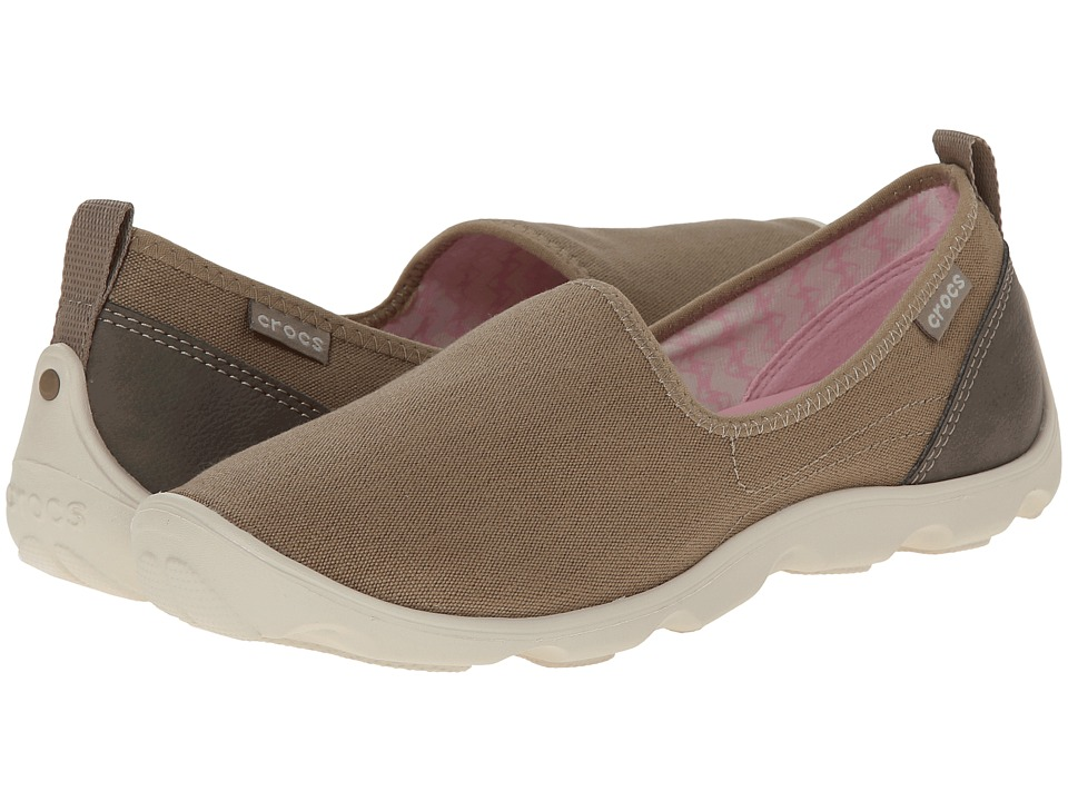Crocs - Duet Busy Day Skimmer Canvas (Khaki/Stucco) Women's Slip on Shoes