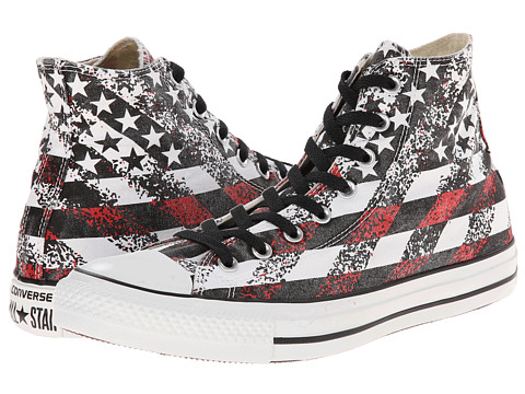 Converse - Chuck Taylor All Star Washed Flag Print Hi (Black/Natural/White) Shoes
