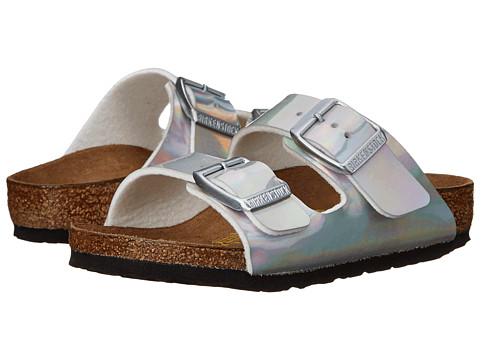 Birkenstock Kids - Arizona (Toddler/Little Kid/Big Kid) (Mirror Silver Birko-Flor ) Girls Shoes