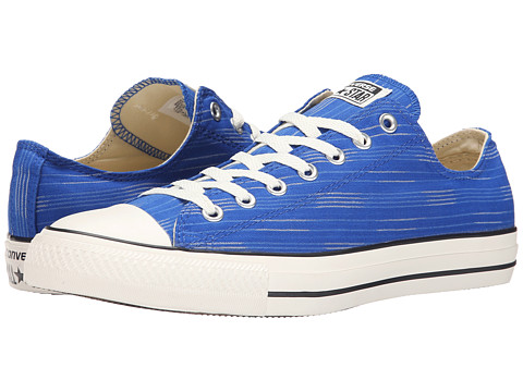 Converse - Chuck Taylor All Star Striped Canvas Ox (Blue/Light Sapphire/Egret) Athletic Shoes