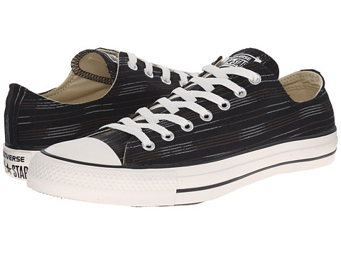 Converse - Chuck Taylor All Star Striped Canvas Ox (Black/Charcoal/Egret) Athletic Shoes