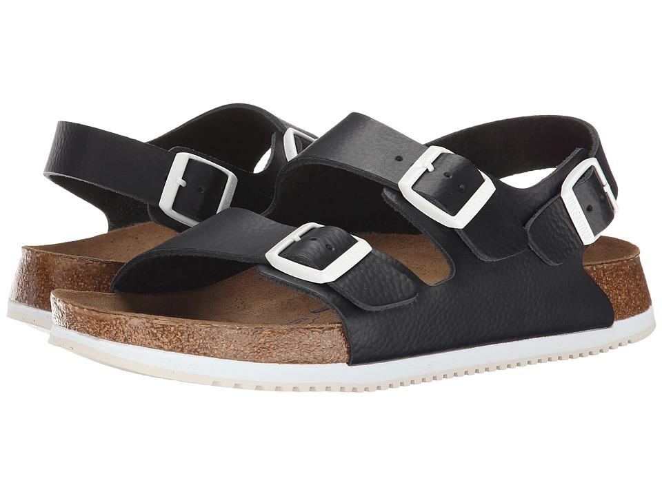 Birkenstock Milano Soft Footbed Super Grip (Black Leather) Shoes