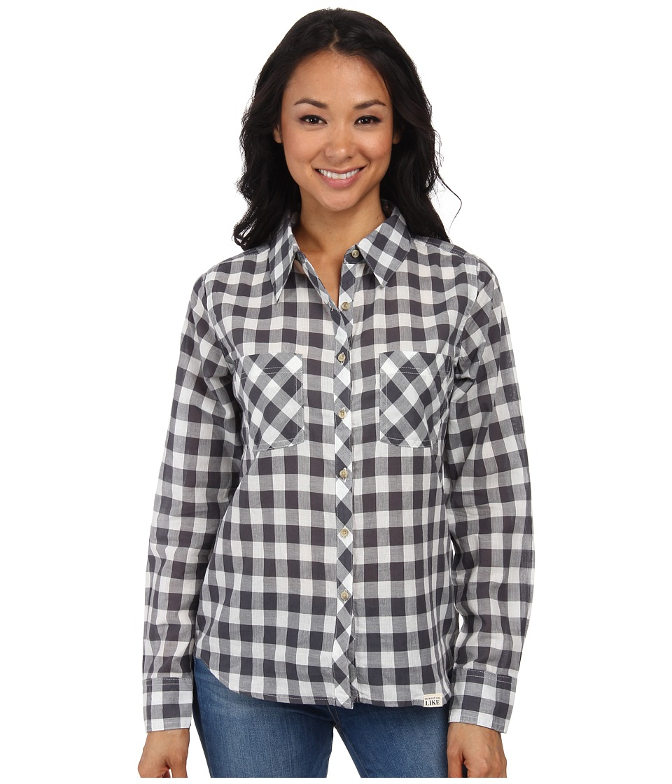 Life is good - Lightweight Plaid Button-Up Shirt (Smoky Grey Buffalo Check) Women's Long Sleeve Button Up