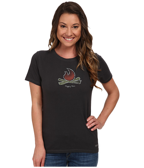 Life is good - Watercolor Campfire Crusher Tee (Night Black) Women