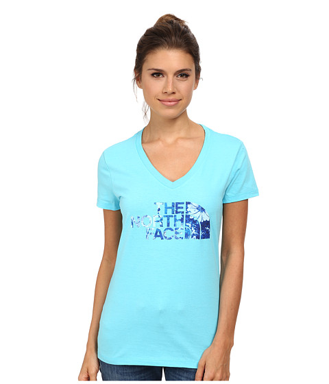 The North Face - S/S Flower Logo V-Neck Tee (Fortuna Blue) Women