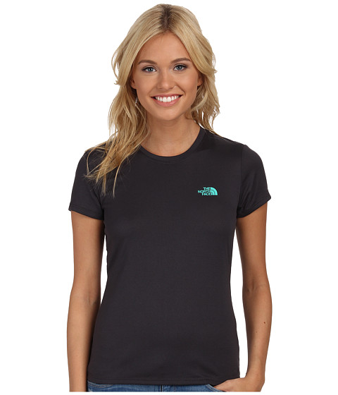 The North Face - S/S Reaxion Amp Tee (Asphalt Grey/Billiard Green) Women