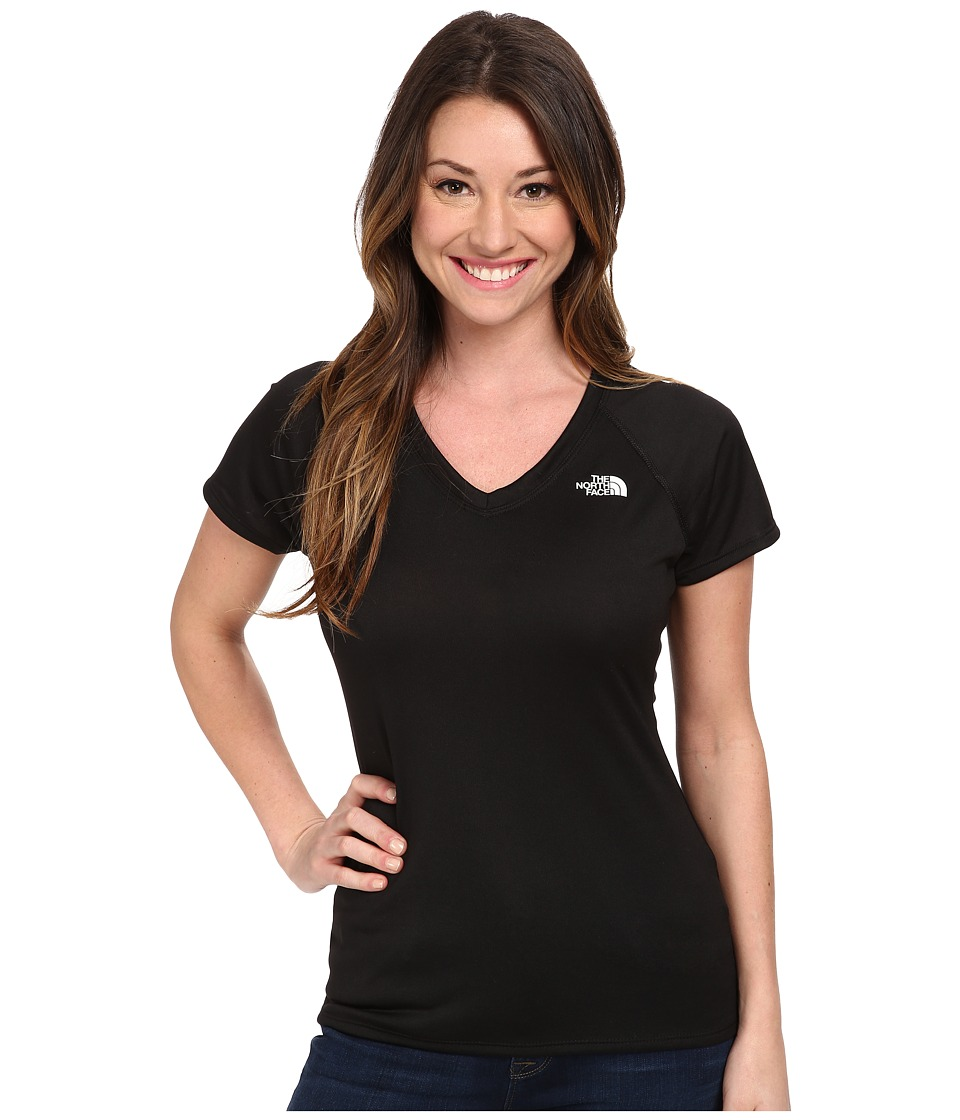 The North Face - S/S Reaxion Amp V-Neck Tee (TNF Black/TNF White) Women's T Shirt