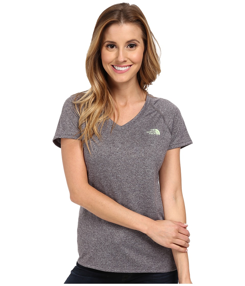 The North Face - S/S Reaxion Amp V-Neck Tee (Heather Grey/Paradise Green) Women