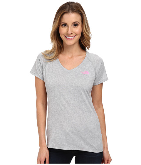 The North Face - S/S Reaxion Amp V-Neck Tee (Monument Grey Heather/Gem Pink) Women