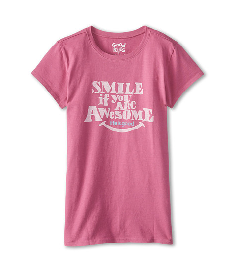 Life is good Kids - Smile Awesome Easy Tee (Little Kids/Big Kids) (Fresh Raspberry) Girl's T Shirt