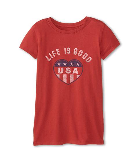 Life is good Kids - USA Heart Easy Tee (Little Kids/Big Kids) (Nantucket Red) Girl's T Shirt