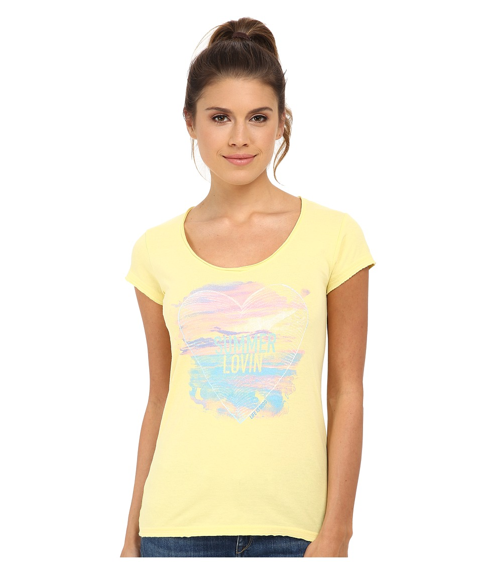 Life is good - Lightweight Crusher Tee (Lemony Yellow 2) Women's T Shirt