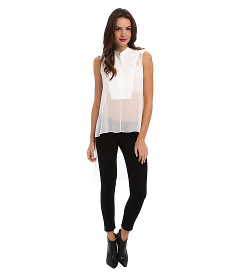 BCBGMAXAZRIA - Priscilla Asymmetrical Hem Top (White) Women's Clothing