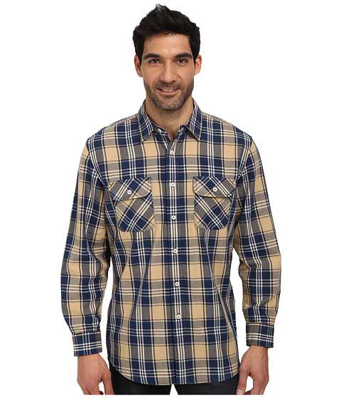 Pendleton - L/S Beach Shack Twill Shirt (Navy/Tan Plaid) Men's Long Sleeve Button Up