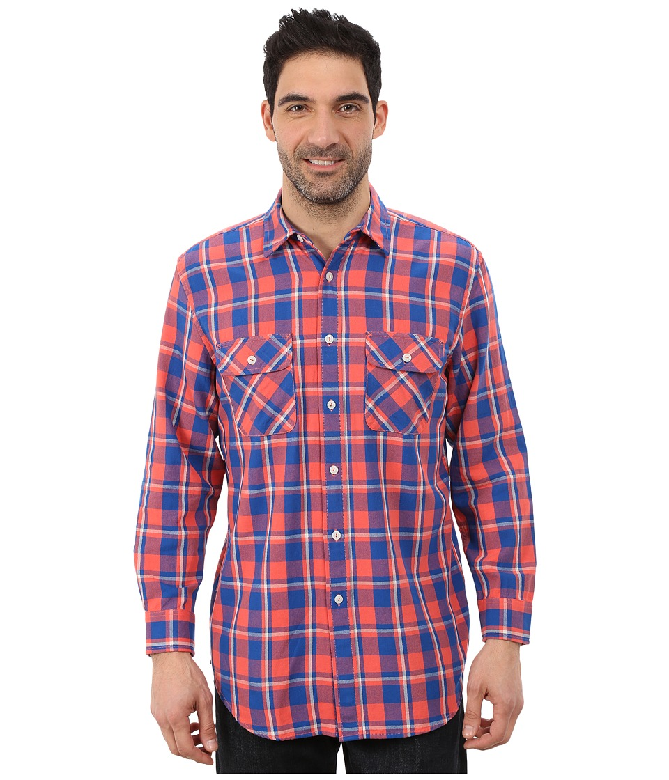 Pendleton - L/S Beach Shack Twill Shirt (Salmonberry/Bright Blue Plaid) Men's Long Sleeve Button Up