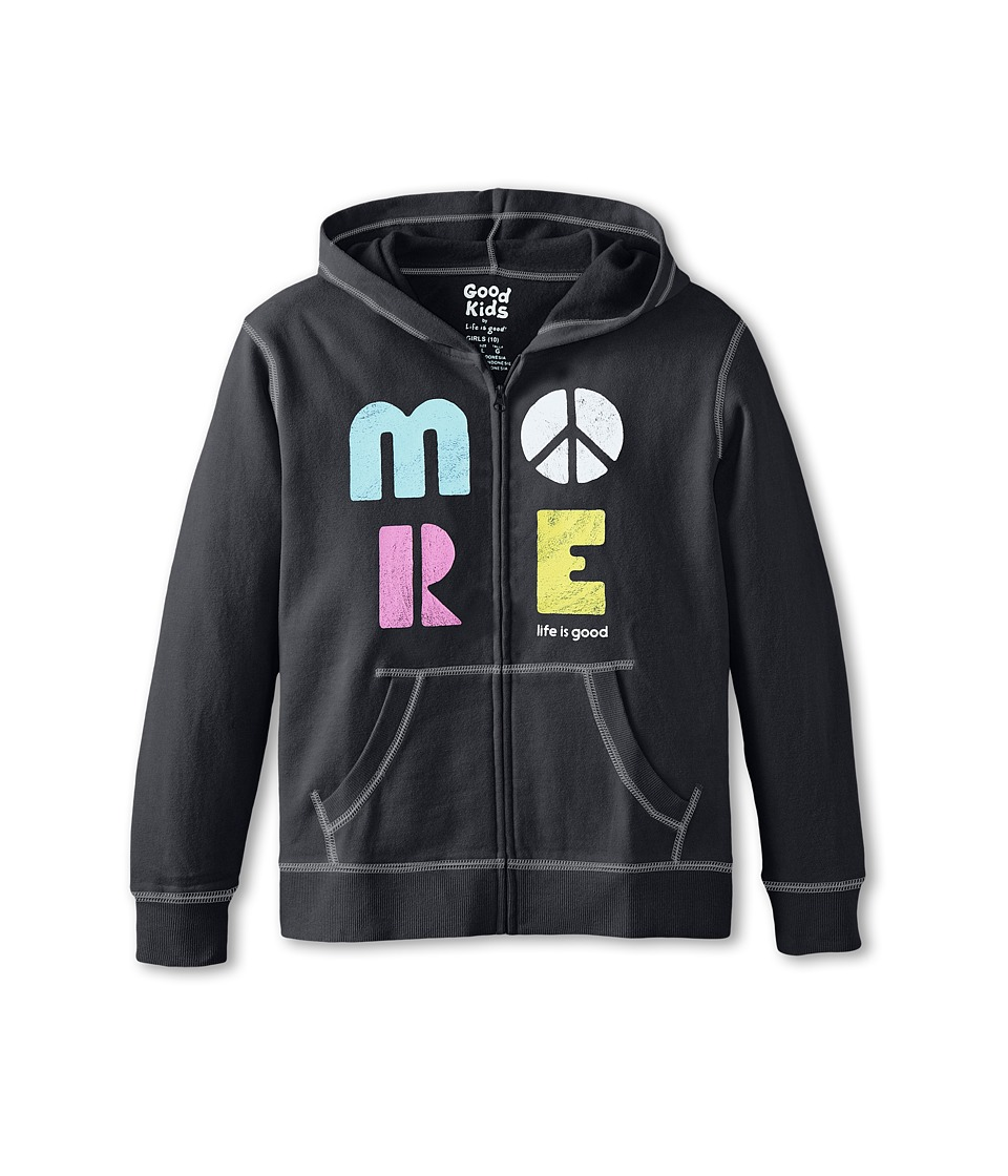 Life is good Kids - More Play-On Hoodie (Little Kids/Big Kids) (Night Black) Girl