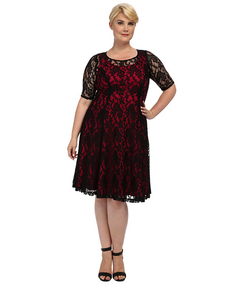 Kiyonna - Sweet Leah Lace Dress (Magenta) Women's Dress
