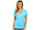 Reebok Shapewear Action Tee (Blue/Dark Blue) Women's Short Sleeve Pullover