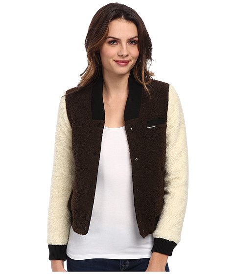 Members Only - Sherpa Baseball Jacket w/ Contrast Sleeves (Chocolate/Ivory) Women
