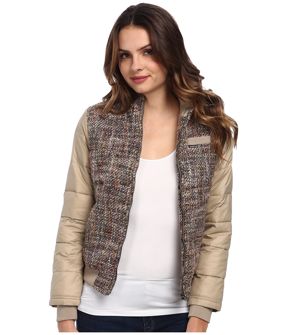 Members Only - Hooded Lightweight Tweed Down Jacket (Taupe) Women's Coat