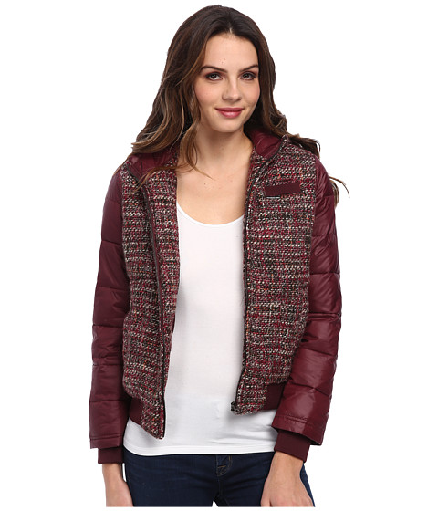 Members Only - Hooded Lightweight Tweed Down Jacket (Burgundy) Women's Coat