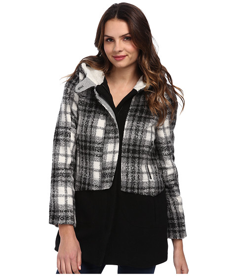 Members Only - Oversized Color Block Wool Blend Coat (Black/White) Women