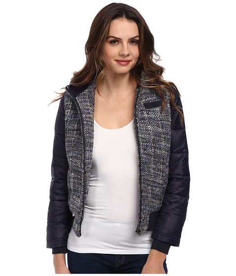 Members Only - Hooded Lightweight Tweed Down Jacket (Navy) Women's Coat