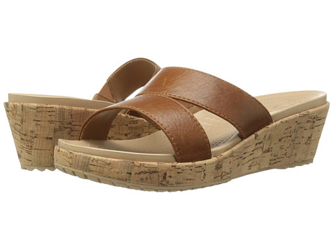 Crocs - A-Leigh Leather Mini (Cocoa/Gold) Women's Wedge Shoes