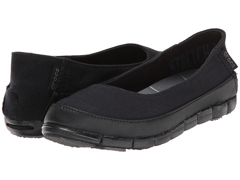 Crocs - Stretch Sole Flat (Black/Black) Women's Flat Shoes