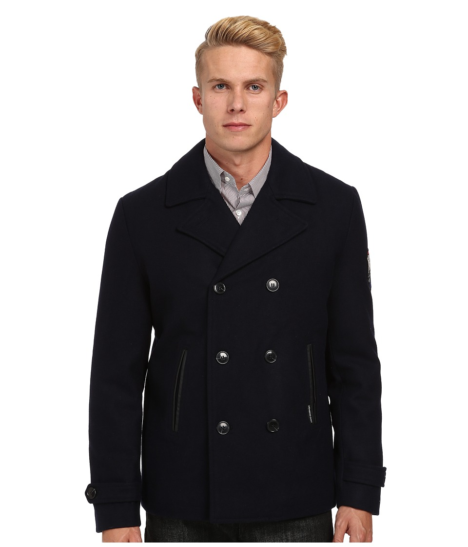 Members Only - Melton Wool Pea Coat (Navy) Men