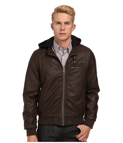 Members Only - Faux Leather Iconic Jacket w/ Detachable Hood (Dark Brown) Men