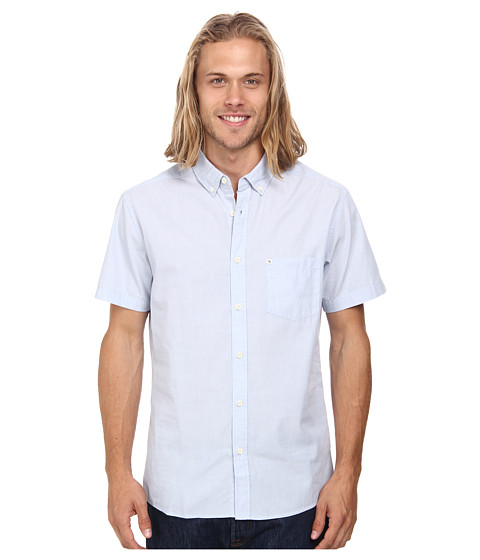 Quiksilver - Wilsden S/S Woven (Faded Denim) Men's Short Sleeve Button Up