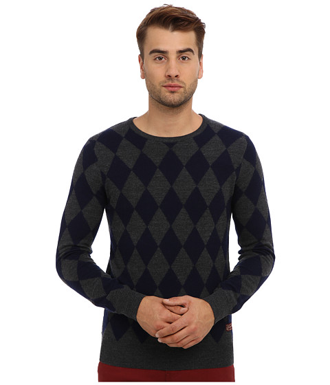 Scotch & Soda - Argyle Knit Sweater (Navy/Grey) Men