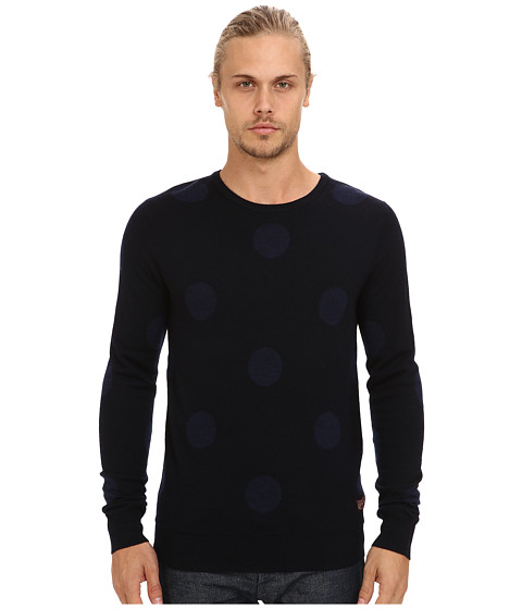 Scotch & Soda - Polka Dot Knit Sweater (Navy/Blue) Men