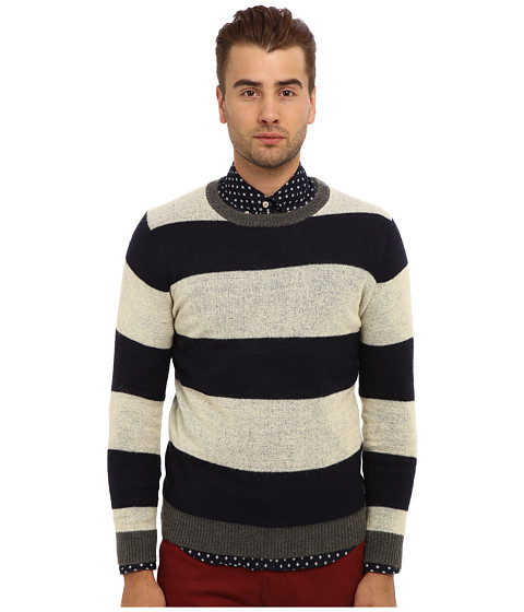 Scotch & Soda - Mohair Mix Crew Neck Sweater (Navy/White) Men