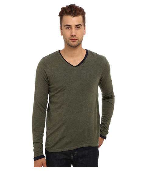 Scotch & Soda - Classic V-Neck Sweater with Long Sleeve Tee (Olive Melange) Men's T Shirt